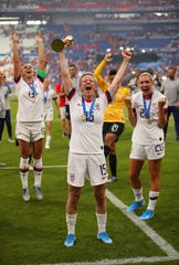 Megan Rapinoe and the USA team win the Women's World Cup on July 7, 2019, in Lyon, France.