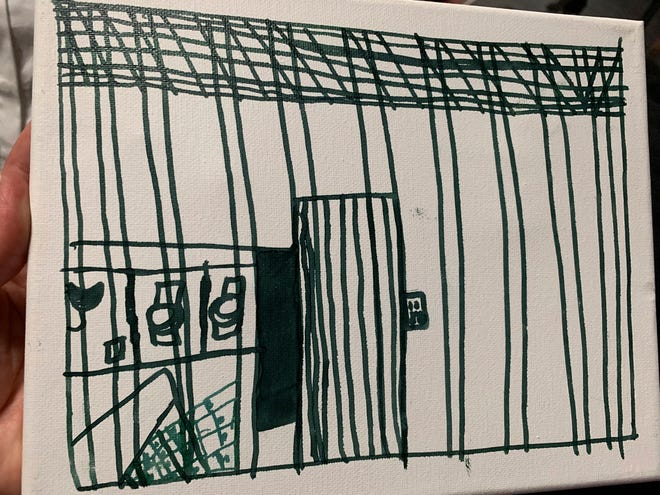 This undated photo provided by the American Academy of Pediatrics on Friday, July 5, 2019 shows a drawing by a migrant child at the Catholic Charities Humanitarian Respite Center in McAllen, Texas. The release of the pictures follows a government watchdog report warning about overcrowded South Texas facilities holding migrant families.