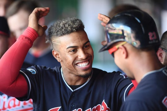 Francisco Lindor with Michael Brantley in 2018.
