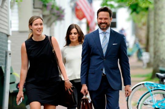 Kevin Spacey's legal team headed by Alan Jackson (R) arrive late to the latest pretrial hearing in the Kevin Spacey sexual assault case at Nantucket District Court in Nantucket, Mass., on July 8, 2019.