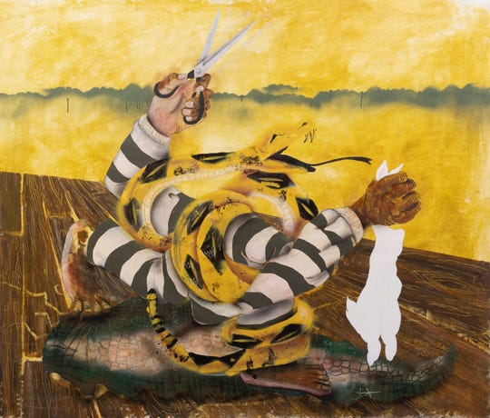 """Manidingo/Don't Tread On Me"" by artist Pat Phillips is among those hanging in the Whitney Biennial 2019 at the Whitney Museum of Art in New York City."