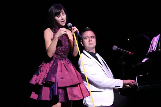 "Susan Egan, who originated the Broadway role of Belle in ""Disney's Beauty and the Beast,"" and Megara in the animated movie ""Disney's Hercules,"" sings with Benjamin Rauhala accompanying on piano during a recent performance from Broadway Princess Party. The party comes to Abilene in October."