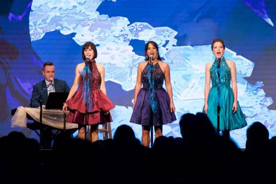 Benjamin Rauhala, left, helps Broadway Princess Party performers Susan Egan, Courtney Reed,and Laura Osnes hit their notes. The four, along with guest prince Adam J. Levy will come to Abilene in October for a single performance at the Paramount Theatre.