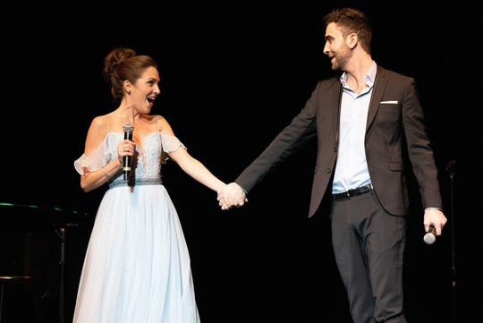 "Laura Osnes, left, and Adam J. Levy perform as part of Broadway Princess Party. Osnes, a two-time Tony Award nominee, originated the role of Cinderella in ""Rogers & Hammestein's Cinderella"" in 2012."