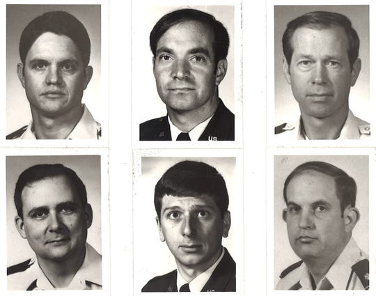 Dyess Air Force Base personnel who were involved in a B-1B crash on Sept. 28, 1987k in Colorado. Survivors are pictured top row from left: Capt. Joseph S. Butler, Capt. Lawrence H. Haskell and Maj. William H. Price. Fatalities are pictured bottom row: Maj. James T. Acklin, Capt. Ricky M. Bean and Maj. Wayne D. Whitlock.