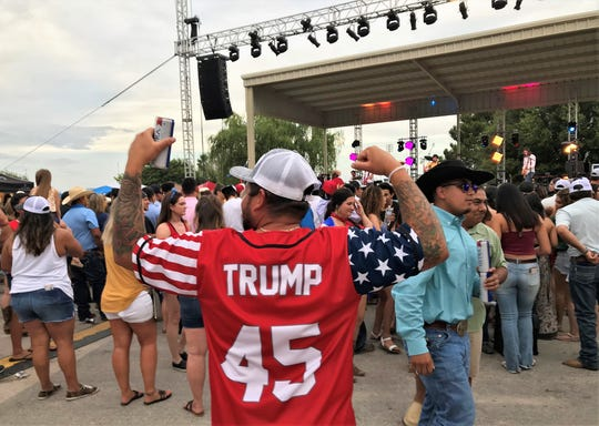 A man attending Saturday's Star Spangled Celebration in Big Lake wore his Trump No. 45 jersey.