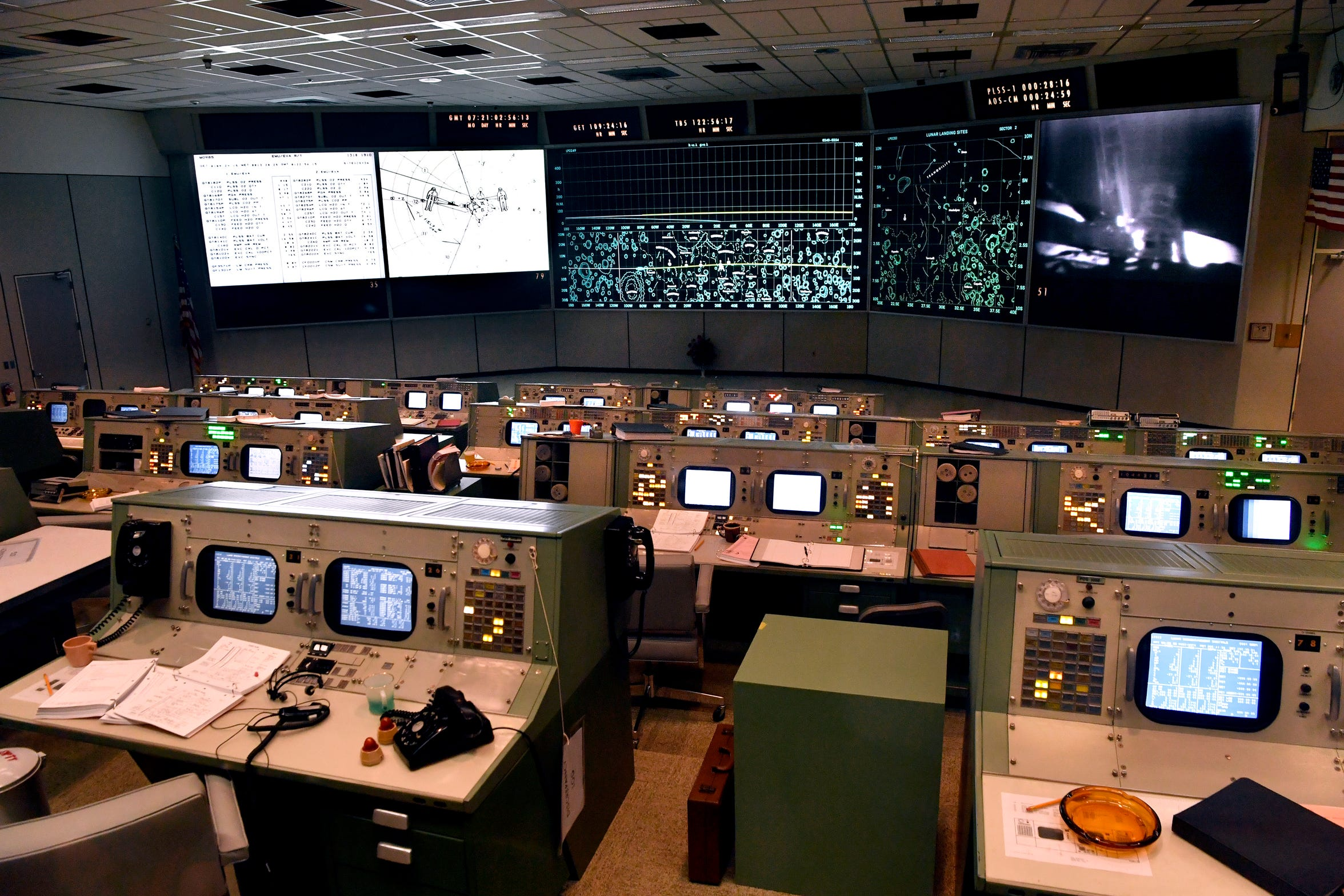 The Apollo Mission Control Center at Johnson Space Center. The National Historic Landmark was restored for $5 million and opened at the beginning of July.