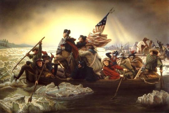 "Emanuel Leutze's famous painting of ""Washington Crossing the Delaware."""