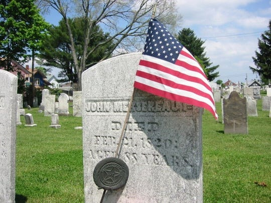 The headstone of John Mersereau in Riverside Cemetery in Endicott.