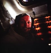 (20 July 1969) --- This photograph of astronaut Neil A. Armstrong, Apollo 11 commander, was taken inside the Lunar Module (LM) while the LM rested on the lunar surface.