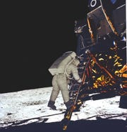 The crowning achievement for the Saturn V rocket came when it launched Apollo 11 astronauts, Neil Armstrong, Edwin (Buzz) Aldrin and Michael Collins, to the Moon in July 1969. In this photograph, Aldrin takes his first step onto the surface of the Moon.