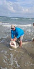 Jason Jenkins, 33, caught a bull shark near Bob Hall Pier on July 7, 2019.