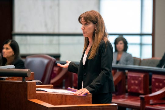 Defense attorney Amelia Carolla addresses the court during a disciplinary hearing before the New Jersey Supreme Court Tuesday, July 9, 2019 in Trenton, N.J.