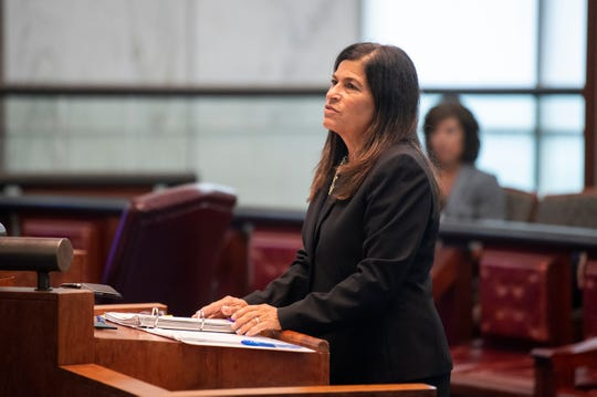 Disciplinary counsel Maureen G. Bauman addresses the court during a disciplinary hearing before the New Jersey Supreme Court Tuesday, July 9, 2019 in Trenton, N.J.