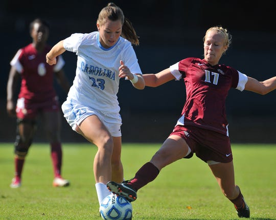 Elizabeth Burchenal, a graduate of St. Ursula Academy, played for University of North Carolina women's soccer against Florida State in the ACC Quarterfinal at Fetzer Field, Chapel Hill, N.C. on Sunday, Oct. 30, 2011.