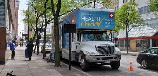 The Deaconess Health Check mobile van makes a regular stop at the downtown Cincinnati library.