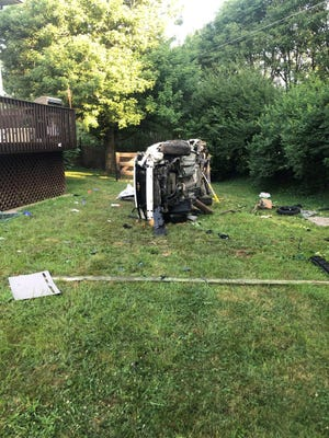 A fatal car crash ended in the backyard of a home in the 2000 block of Bluestem Drive in Burlington.