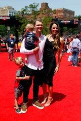 Jul 9, 2019; Cleveland, OH, USA; National League pitcher Sonny Gray of the Cincinnati Reds with his family on the red carpet prior to the 2019 MLB All Star Game at Progressive Field.