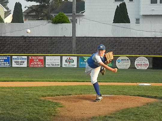 Milltown's Ryder Simpson pitches against Sayreville during the District 10 Little League baseball finals on Monday, July 8, 2019.