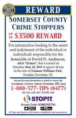 Police are seeking the public's assistance in locating the person responsible for the fatal shooting of David Anderson, 30, of Franklin on May 18.