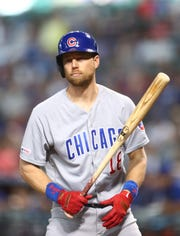 Apr 28, 2019; Phoenix, AZ, USA; Chicago Cubs outfielder Ben Zobrist against the Arizona Diamondbacks at Chase Field. Mandatory Credit: Mark J. Rebilas-USA TODAY Sports