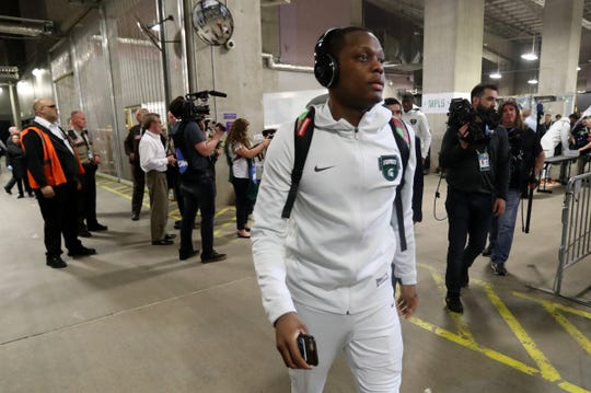 Michigan State guard Cassius Winston (5) makes his way toward the locker room as the team arrives for the Final Four against Texas Tech at U.S. Bank Stadium in Minneapolis, Minnesota on Saturday, April 06, 2019.