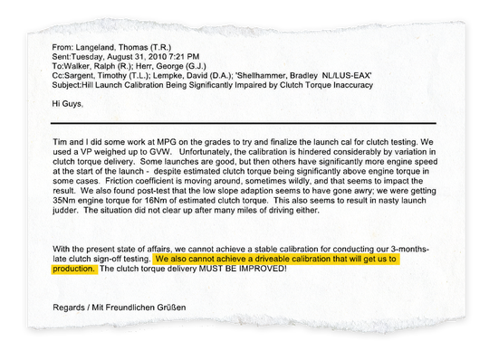 Six months before the 2012 Ford Focus went to dealers, veteran development engineer Tom Langeland emailed transmission calibration manager George Herr and others with his concerns about the DPS6 performance. (Highlighting added by Free Press)