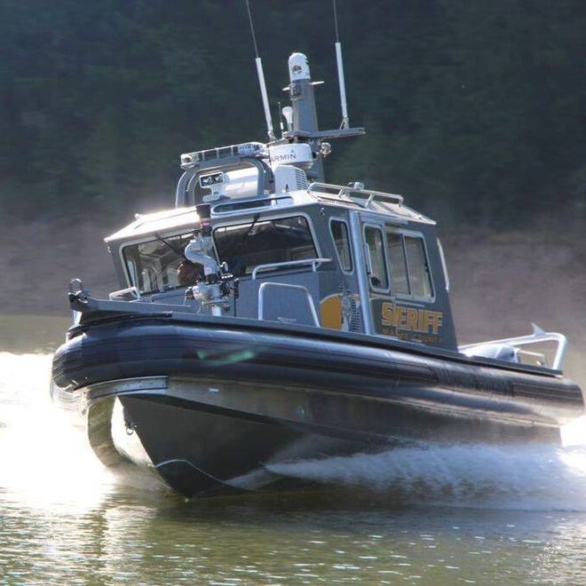 Marine division boat with the Macomb County Sheriff's Office.