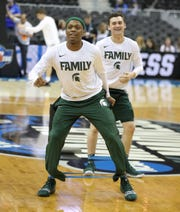 MSU guards Cassius Winston and Foster Loyer stretch before NCAA Regional Final action against  Duke Sunday, March 31, 2019 at Capital One Arena in Washington, DC.