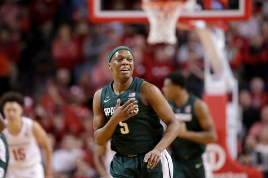 Michigan State's Cassius Winston (5) gestures after a basket against Nebraska during the first half of an NCAA college basketball game in Lincoln, Neb., Thursday, Jan. 17, 2019.