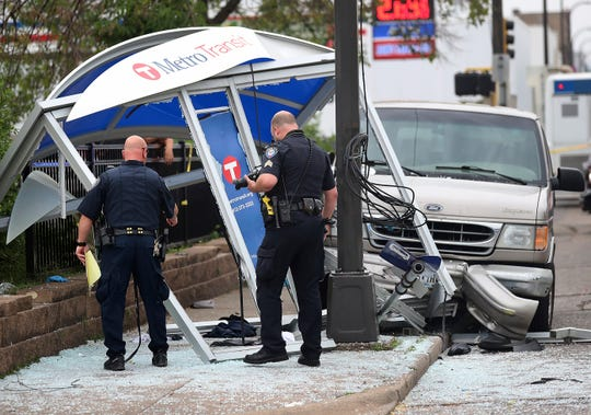 At least six people were hurt, including three critically, when a van slammed into a crowded bus stop shelter in north Minneapolis. All six were transported to hospitals. Metro Transit spokesman Howie Padilla says police took the driver of the van into custody following the crash about 9:30 a.m. Tuesday, July 9, 2019.