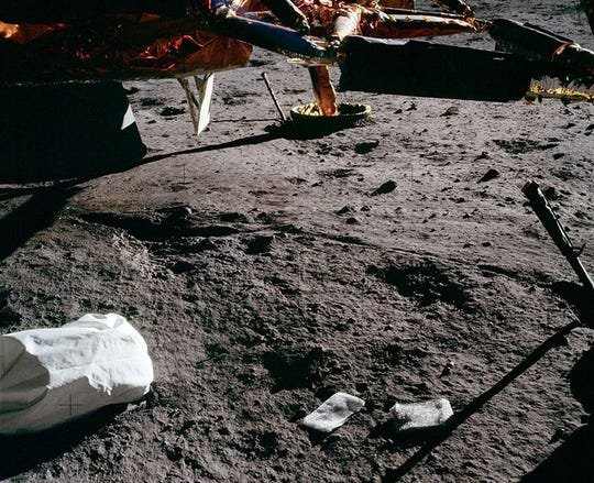 Jettison bags, including 96 bags of human waste, were left on the moon after the six Apollo missions.
