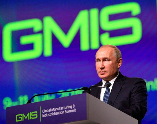 Russian President Vladimir Putin speaks during the Global Manufacturing & Industrialisation Summit (GMIS) at the Yekaterinburg Expo international exhibition centre in Yekaterinburg, Russia, Tuesday, July 9, 2019.