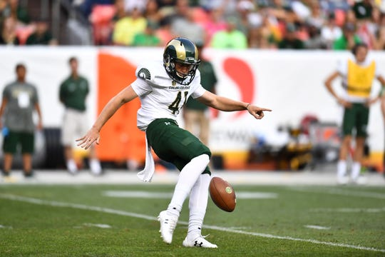 Sep 1, 2017; Denver, CO, USA; Colorado State Rams punter Ryan Stonehouse (41) punts the ball in the first half against the Colorado Buffaloes at Sports Authority Field at Mile High. Mandatory Credit: Ron Chenoy-USA TODAY Sports