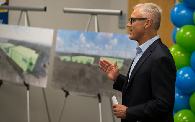 Douglas VanOort, chairman and ceo of NeoGenomics, hosts an employee town hall meeting Tuesday afternoon, July 9, 2019, at the company's headquarters in Fort Myers. VanOort announced the company will be expanding and building a new and larger facility just north of Alico Road off of Three Oaks Parkway.