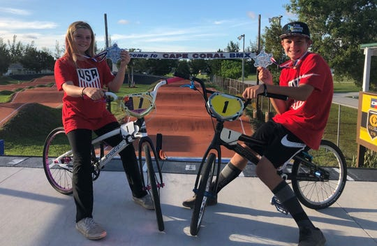 Avery and Brady Jones, shown at Strausser BMX Sports Complex in Cape Coral, will be competing in world BMX Championships in Belgium.