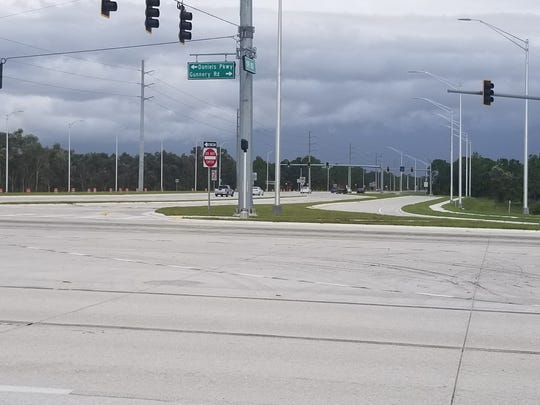 The continuous flow intersection on SR 82 moves traffic approaching an intersection for a left turn across a lane of ongoing traffic to get in position to move once the light turns green.