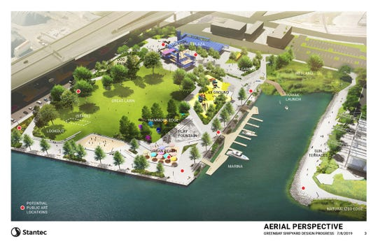An aerial view of public improvements proposed for the Shipyard redevelopment area. The plan includes a container plaza, great lawn, urban beach, marina, kayak launch, playground and dog park. The red dots are proposed public art installations.