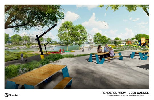 "A rendering of the Shipyard's ""beer garden."" The area would be a space where container park patrons and visitors could sit and enjoy the area."