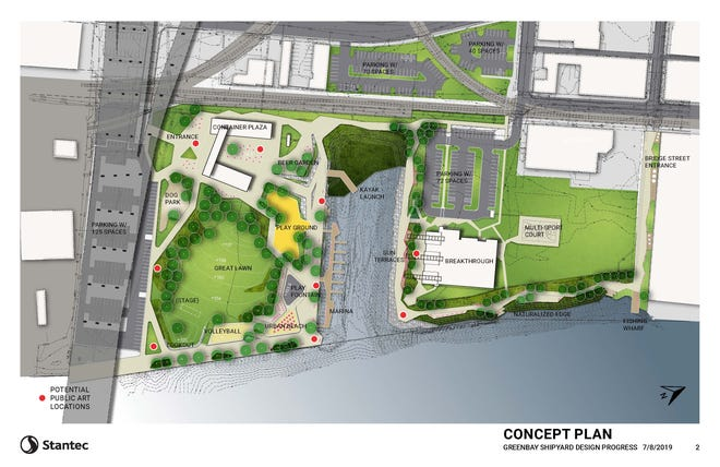 The revised Shipyard concept plan includes a greaaat law, dog park, beer garden and other amenities on a city-owned site just north of the Mason Street overpass. The white building north of the inlet was originally expected to be Breakthrough's headquarters. Instead, Merge Urban Development has proposed a 225-unit, two-building mixed use development for the site.