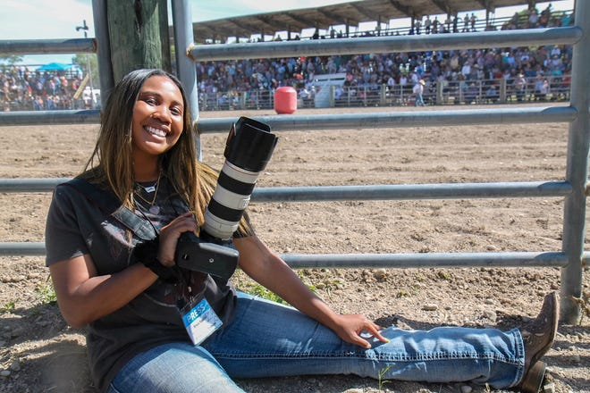 Enya Spicer shooting the 83rd annual Augusta American Legion Rodeo