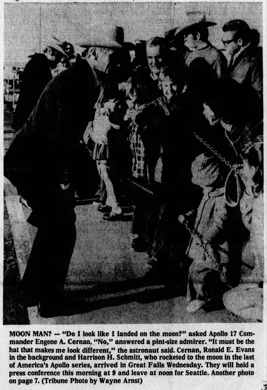 Apollo 17 Commander Gene Cernan meets a young admirer on a 1973 visit to Great Falls.