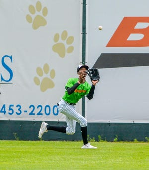 Great Falls Voyagers outfielder Cabera Weaver, pictured in a game at Centene Stadium earlier this season, had a two-run homer to help the Voyagers get past Billings Wednesday night at Dehler Park.