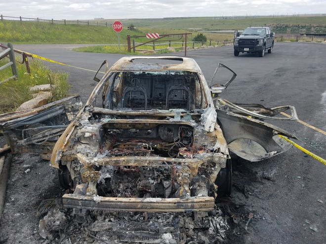 Montana Fish, Wildlife and Parks is seeking information on a car burned in Giant Springs at the Rainbow Scenic Overlook last week.