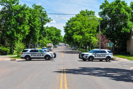 Great Falls Police shutdown Central Avenue between 17th and 19th streets on Tuesday afternoon while responding to a call at 1801 Central Avenue, July 9, 2019.  A male was taken into custody without incidence shortly before 2 p.m.