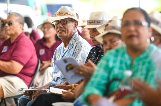 World War II survivors and others gather for the unveiling of the Kålaguak Memorial in Tiyan, Barrigada, in this July 9 file photo. The U.S. House of Representatives Wednesday passed a bill to fix delays in the payment of warclaims.