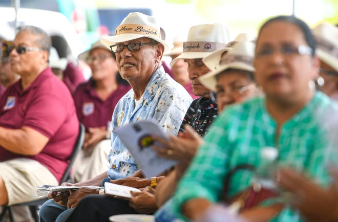 World War II survivors and others gather for the unveiling of the Kålaguak Memorial in Tiyan, Barrigada, in this July 9 file photo. The U.S. House of Representatives Wednesday passed a bill to fix delays in the payment of war claims.
