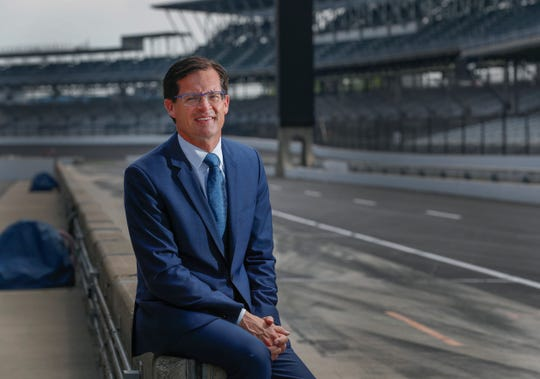 Indianapolis Motor Speedway president Doug Boles sits on the pit wall weeks following the Indianapolis 500.