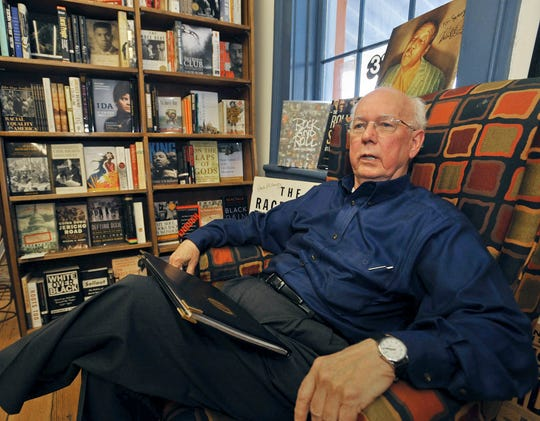 In this Sept. 16, 2008, file photo, David Sansing, professor emeritus of history at the University of Mississippi, sits in Square Books, a bookstore in downtown Oxford, Miss. Sansing, a professor emeritus, fell last Friday at his home in Oxford and died Saturday, July 6, 2019, at a hospital in Memphis, Tenn., the University of Mississippi said in a news releases. He was 86.