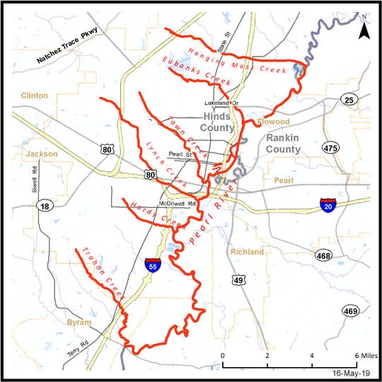 A map that shows several Jackson creeks and a section of the Pearl River that should be avoided due to unsanitary conditions.